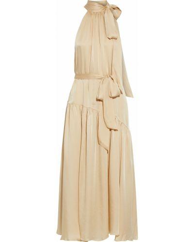 Бежевое шелковое платье макси Zimmermann