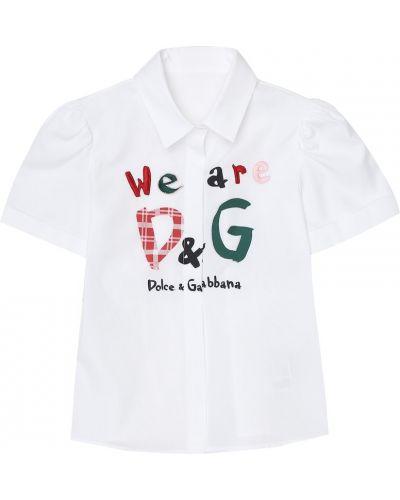 Bawełna bawełna biały bluzka z haftem Dolce & Gabbana Kids