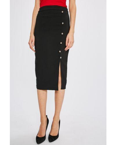Черная юбка карандаш с поясом в рубчик Miss Poem