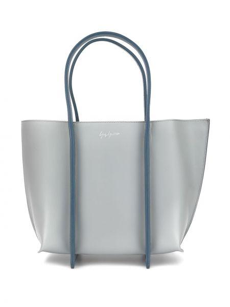 Кожаная серая сумка-тоут на молнии с карманами Discord Yohji Yamamoto