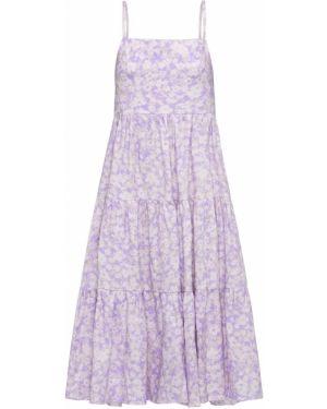 Фиолетовое ажурное льняное платье Peony