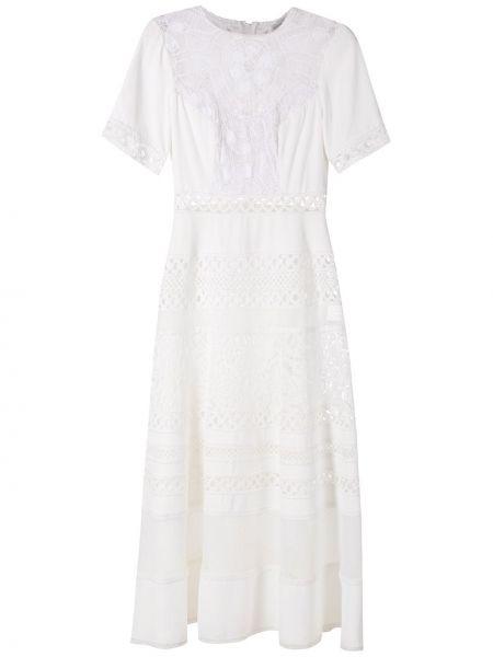 Белое ажурное платье миди с короткими рукавами круглое Martha Medeiros