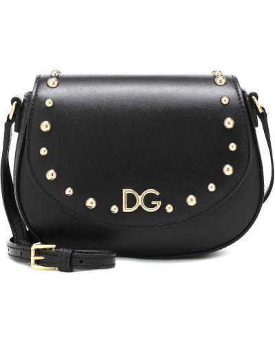 Skórzany czarny torba Dolce & Gabbana Kids
