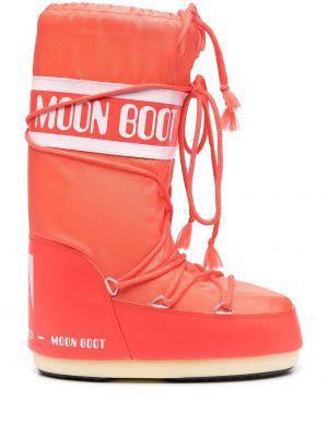 Кожаные сапоги - оранжевые Moon Boot