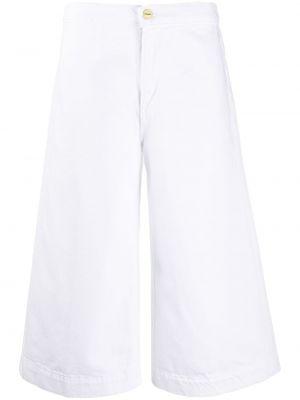 Белые укороченные брюки с поясом свободного кроя Frame