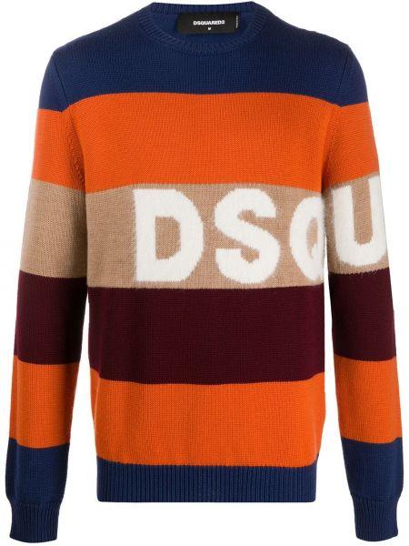 Оранжевый шерстяной длинный свитер круглый Dsquared2