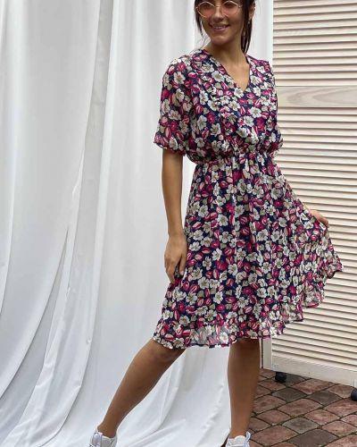 Розовое шифоновое платье с оборками G&m