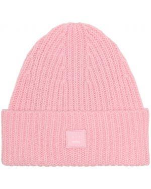 Różowy czapka beanie wełniany Acne Studios Kids