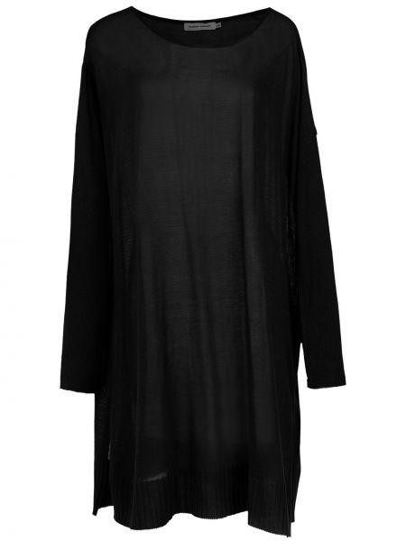 Свободная черная блузка с длинным рукавом из вискозы с длинными рукавами Gloria Coelho