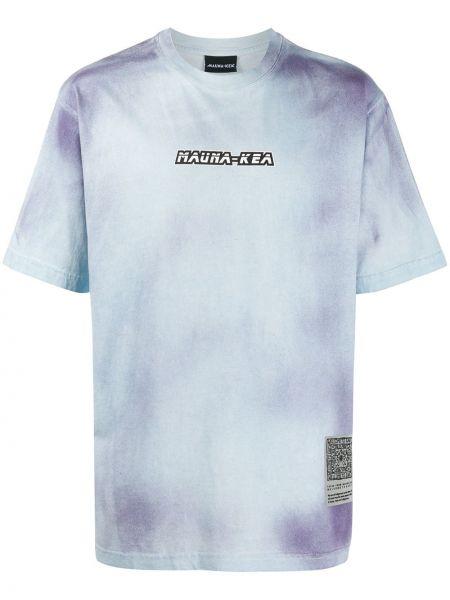 С рукавами синяя прямая рубашка с короткими рукавами с заплатками Mauna Kea