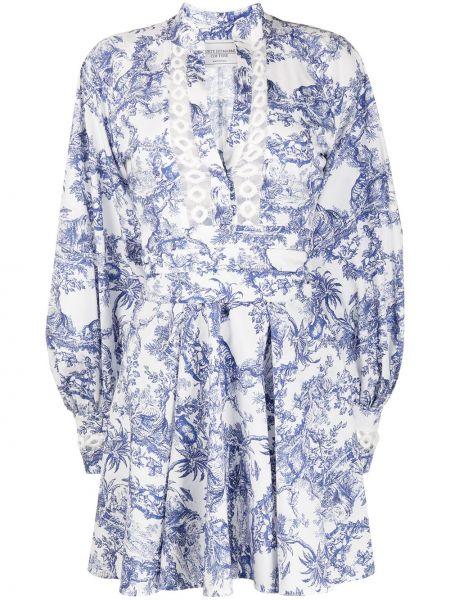 Расклешенное платье мини на пуговицах со вставками с V-образным вырезом Forte Dei Marmi Couture