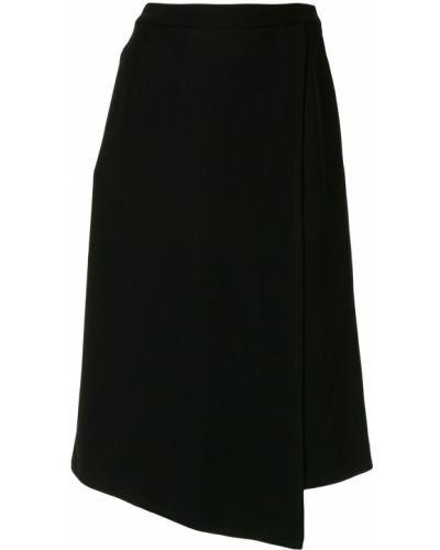 Черная юбка миди с запахом в рубчик с рукавом 3/4 Knott