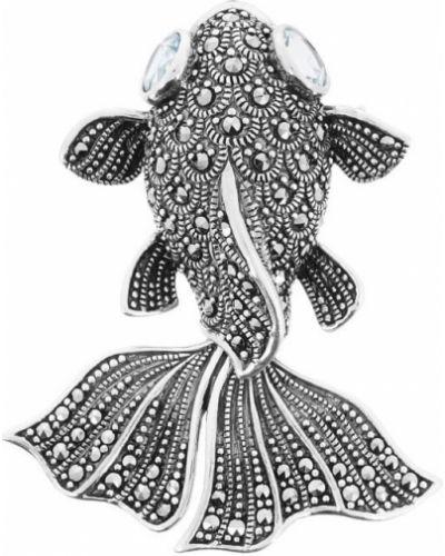 Серебряная брошь с камнями в морском стиле марказит