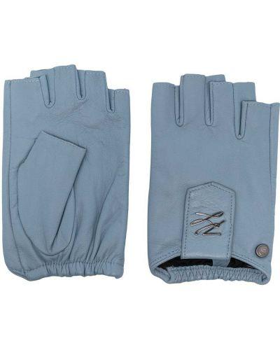 Синие кожаные перчатки без застежки Karl Lagerfeld