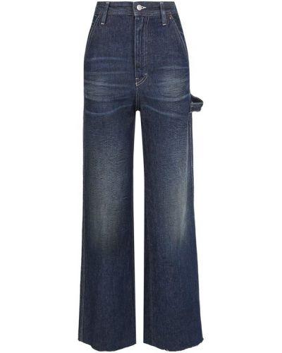 Расклешенные джинсы с эффектом потертости синие Mm6