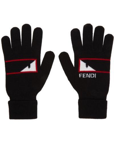 Rękawiczki z mankietami wełniany Fendi