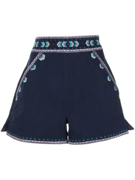 Ватные хлопковые синие шорты с вышивкой Talitha
