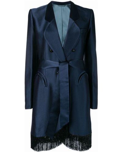 Синее пальто с капюшоном на пуговицах Blazé Milano