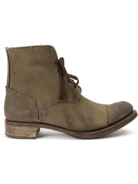 Кожаные зеленые кожаные ботинки Cherevichkiotvichki