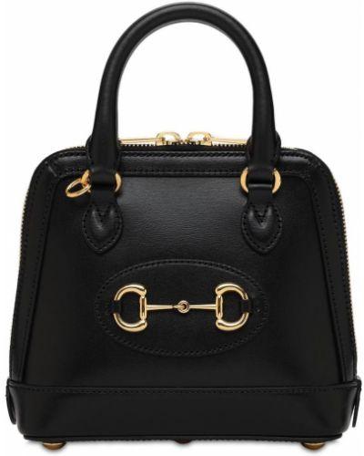 Skórzany czarny top z kieszeniami Gucci