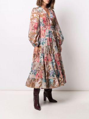 Коричневое платье со вставками Zimmermann