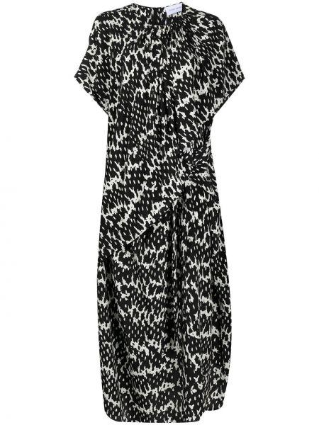 Расклешенное с рукавами черное платье мини Christian Wijnants