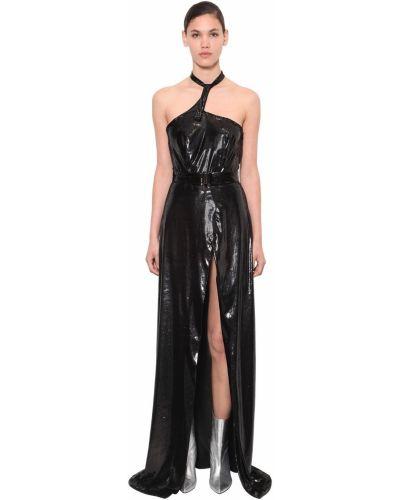 Czarna sukienka długa asymetryczna z paskiem Annakiki
