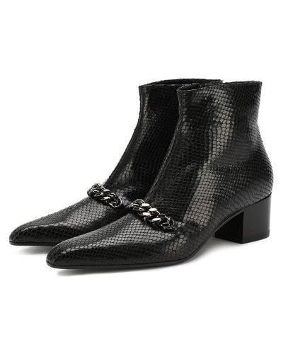 Черные кожаные ботинки на каблуке Tom Ford