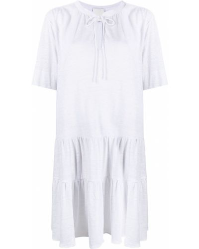 Белое платье мини с короткими рукавами с вырезом Allude
