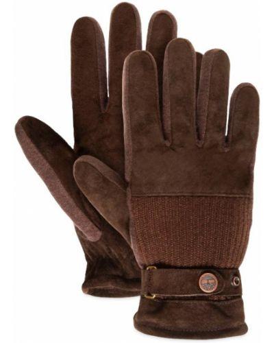 Коричневые кожаные перчатки с подкладкой Timberland