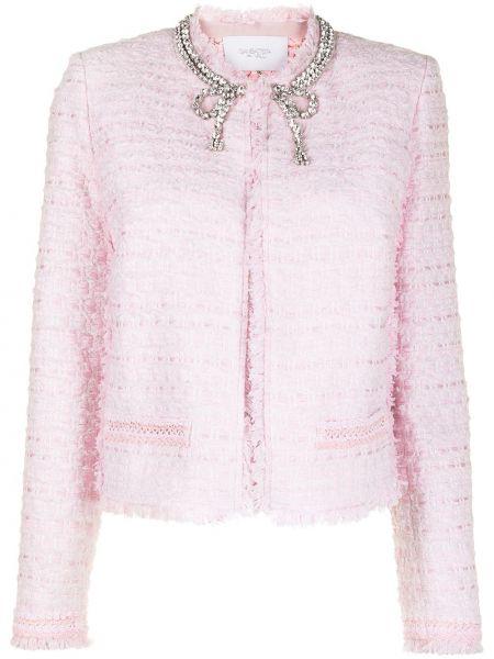 Розовый удлиненный пиджак твидовый круглый Giambattista Valli