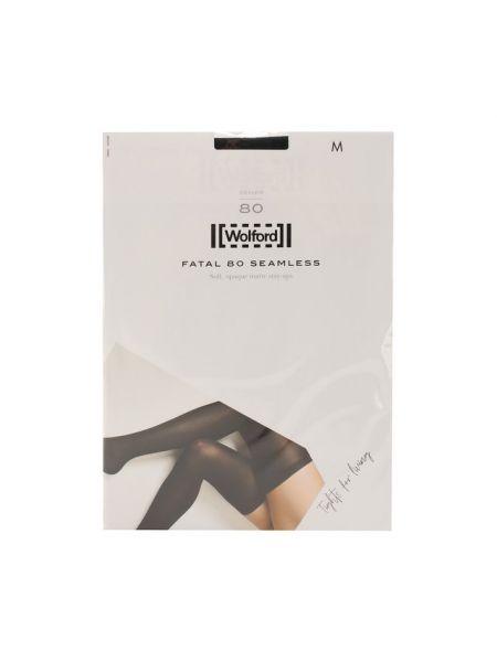 Черные шелковые чулки со вставками с манжетами Wolford