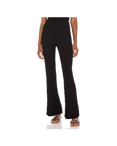 Шелковые черные брюки в рубчик с поясом Lna