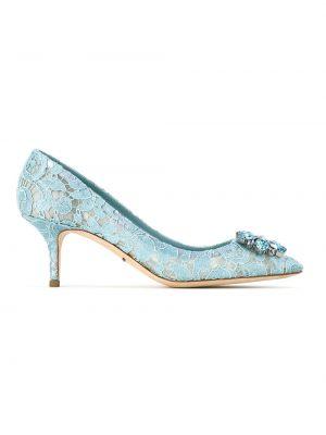 Бирюзовые туфли на каблуке со стразами Dolce & Gabbana