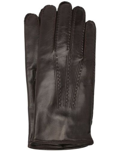 Коричневые кожаные перчатки с подкладкой Moreschi
