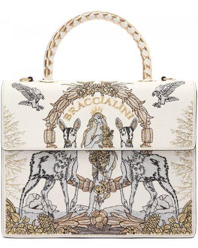 Белая текстильная сумка Braccialini