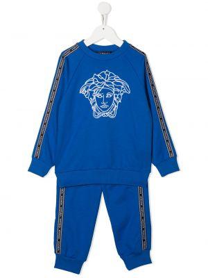 Niebieski dres bawełniany z długimi rękawami Young Versace