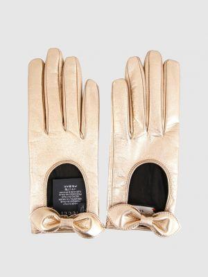 Кожаные перчатки - золотые Gucci