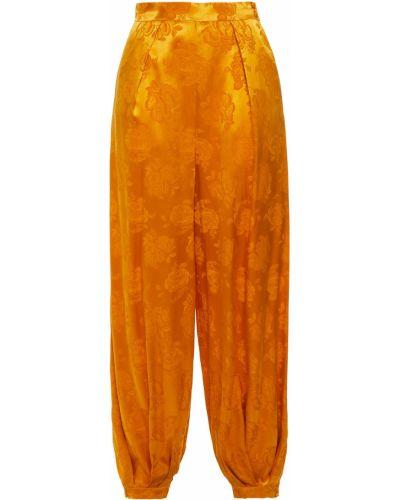 Желтые шелковые брюки с карманами Ronny Kobo