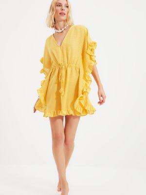 Żółty sweter w paski Trendyol