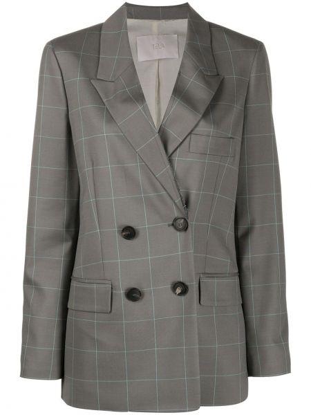 Серый удлиненный пиджак двубортный с карманами Tela