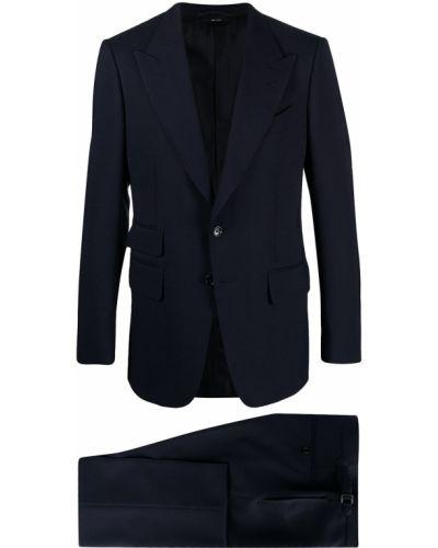 Однобортный темно-синий шерстяной костюм Tom Ford