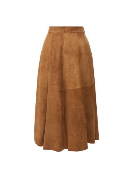 Коричневая вечерняя расклешенная юбка со складками Ralph Lauren