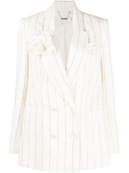 Шелковый удлиненный пиджак двубортный в полоску Zimmermann