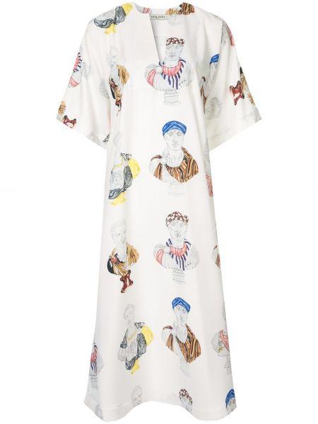 Свободное платье миди свободного кроя с вырезом Tata Naka