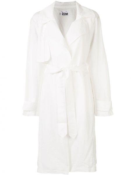 Biały płaszcz z paskiem z nylonu Izzue