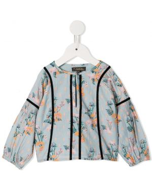 Niebieska bluzka z długimi rękawami bawełniana Velveteen