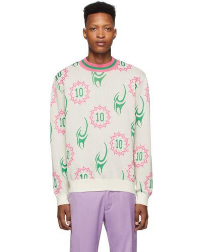 Różowy długi sweter w paski z długimi rękawami Landlord