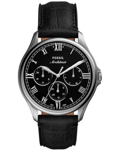 Czarny zegarek srebrny Fossil
