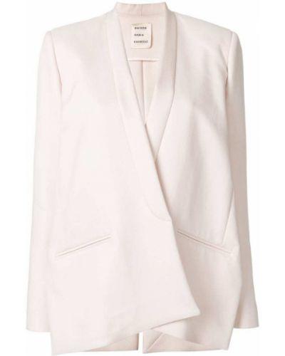 Розовый приталенный классический пиджак с подстежкой Maison Rabih Kayrouz